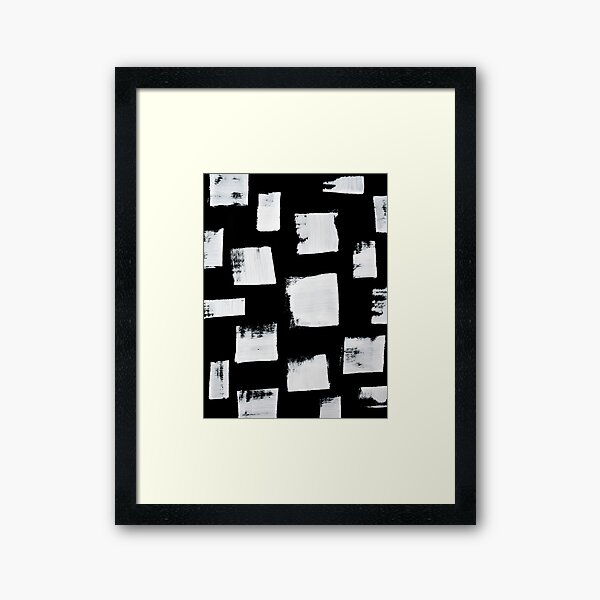 Marshmallows: a minimal abstract black and white square mudcloth pattern by Alyssa Hamilton Art Framed Art Print