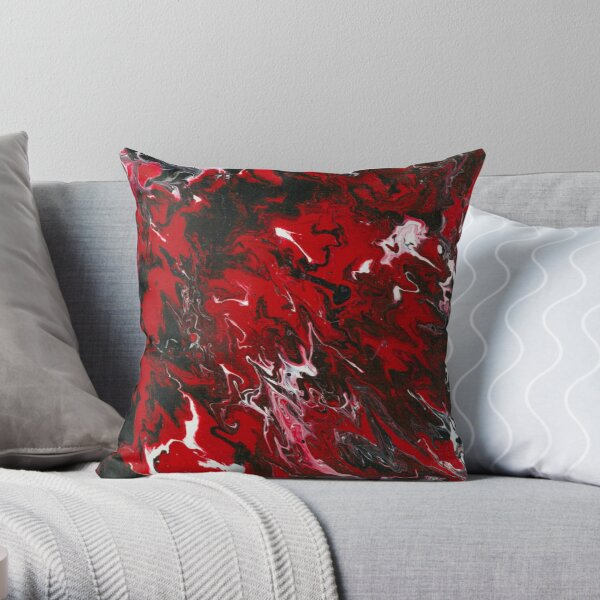 Blood Lines Red and Black Fluid Pour Throw Pillow