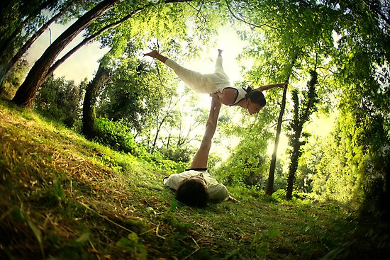AcroYoga in the forest by Wari Om  Yoga Photography