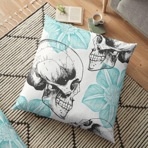 Skulls And Flowers • Turquoise • Romantic Goth Floor Pillow