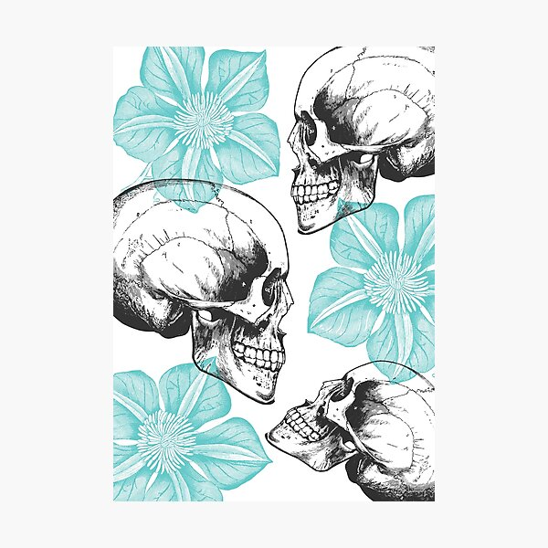 Skulls And Flowers • Turquoise • Romantic Goth Photographic Print