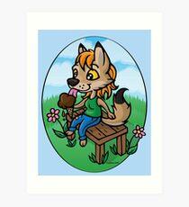 Summertime Treat - Coyote with Ice Cream Art Print