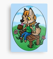 Summertime Treat - Coyote with Ice Cream Metal Print