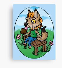 Summertime Treat - Coyote with Ice Cream Canvas Print
