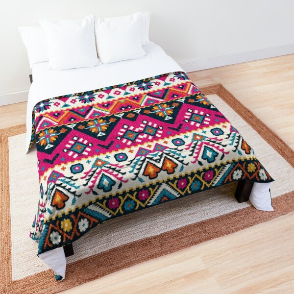 Lovely Colored Traditional Oriental Moroccan Style Artwork Comforter