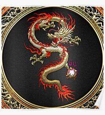 Golden Chinese Dragon Fucanglong on Black  Poster