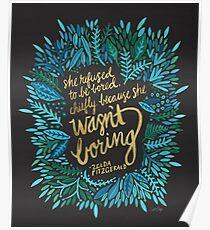 Zelda Fitzgerald – Blue & Gold on Charcoal Poster