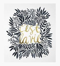 C'est la Vie – Grey & Gold Fotodruck