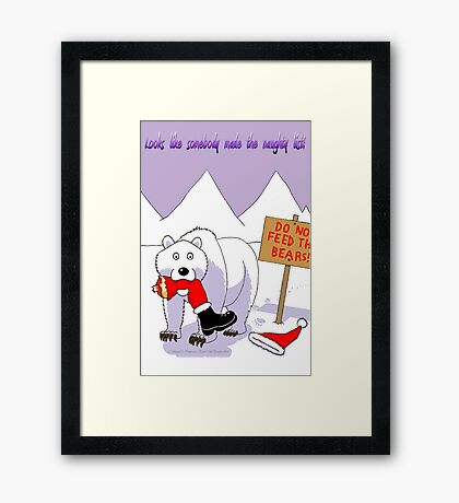 Santa's Naughty List Card Framed Print