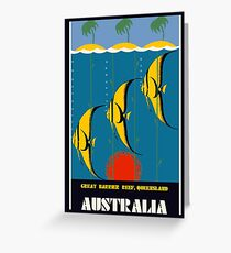 Great Barrier Reef Australia travel advertising Greeting Card