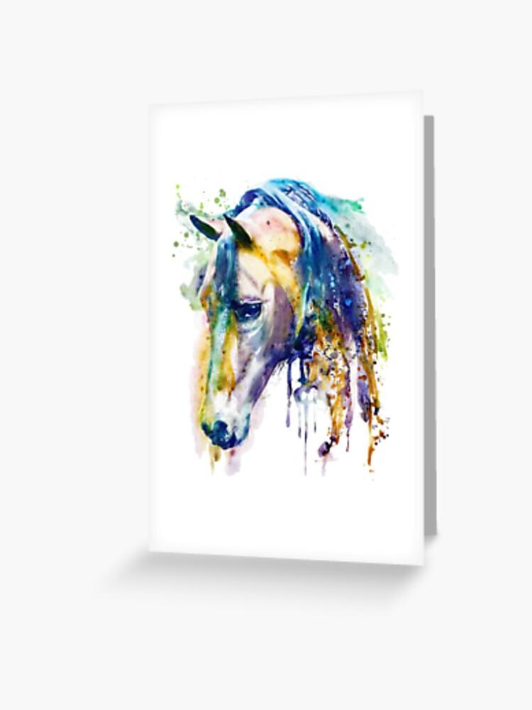 vide à l/'intérieur 48 images à choisir CHEVAL Carte de vœux par UK artist