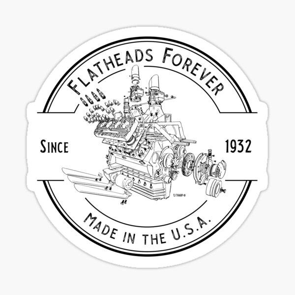 Flatheads Forever V8 Hot Rod Engine Exploded View Sticker
