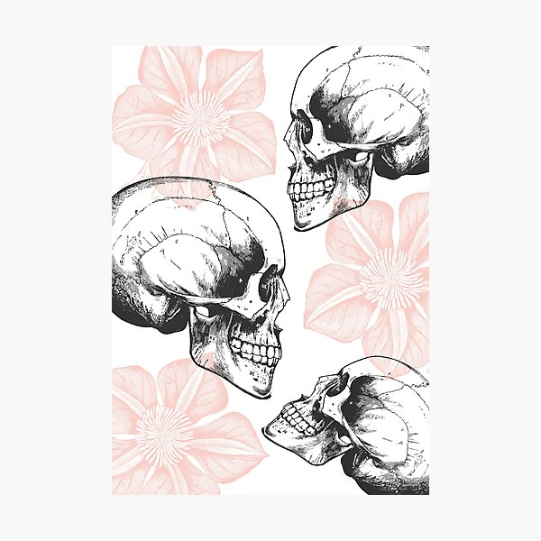 Skulls And Flowers • Pastel Pink • Romantic Goth Photographic Print