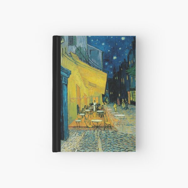 Terrace of a cafe at night vincent van gogh Hardcover Journal