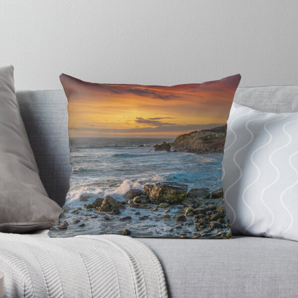 Watershoot Bay St Catherines Isle Of Wight Throw Pillow