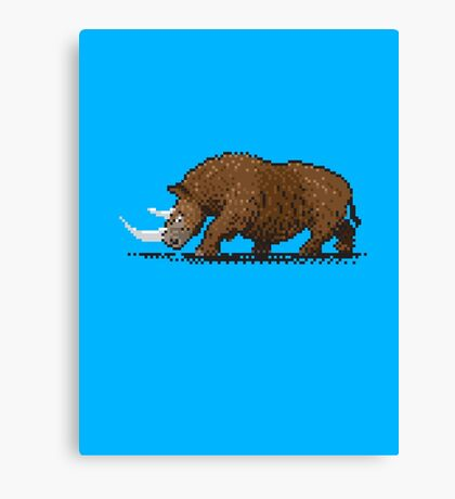 Prehistoric Pixels - Woolly Rhino  Canvas Print