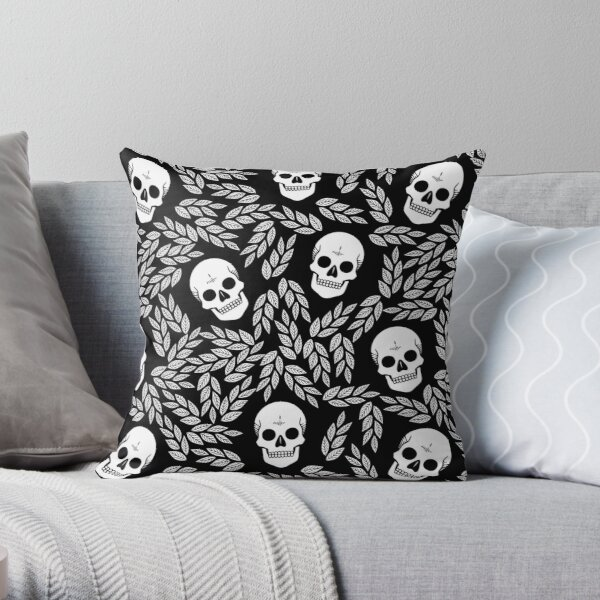 Skull Floral • Black And White • Pattern  Throw Pillow