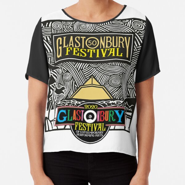 Glastonbury 50th Anniversary 2020 Badge, Music Festival Scene Graphic - perfect for Clothing or Prints Chiffon Top