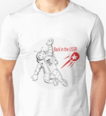 Space poster. Cosmonaut in space suit and  sputnik. Unisex T-Shirt