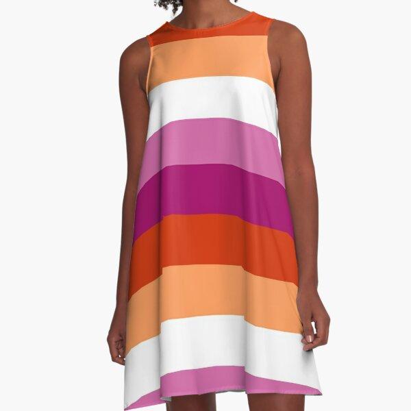 Lesbian (new) Pride Large Flag Print  A-Line Dress