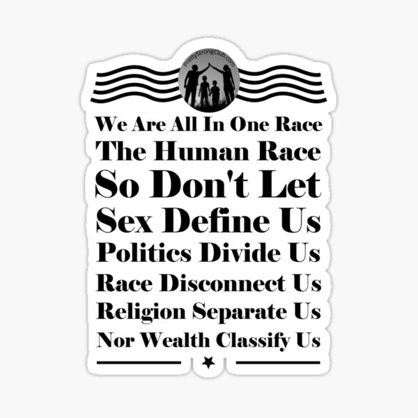 We Are All In One Race Sticker