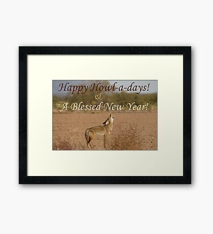 Coyote Howl-A-Day Card Framed Print