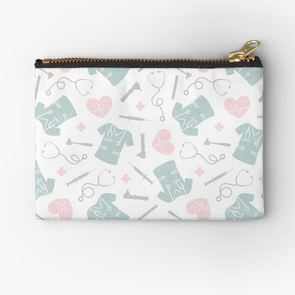 Nursing Fabric - Pink and Mint on White Zipper Pouch