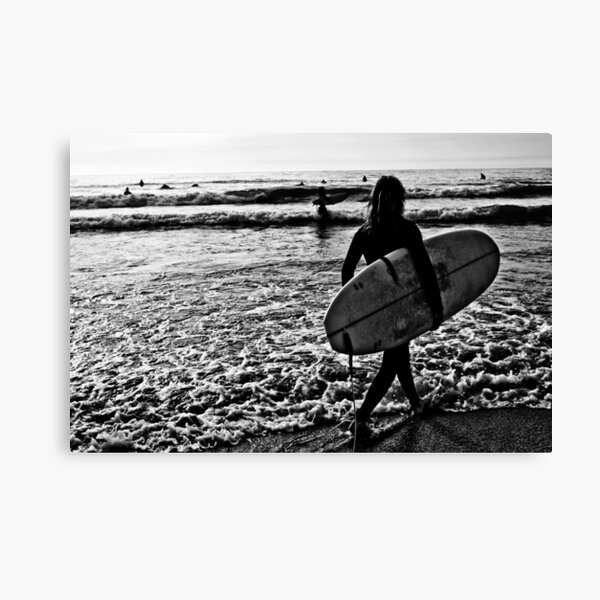 Black & White Surfer Canvas Print