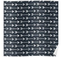 Chalkboard Black and White Tribal Arrow Pattern Poster