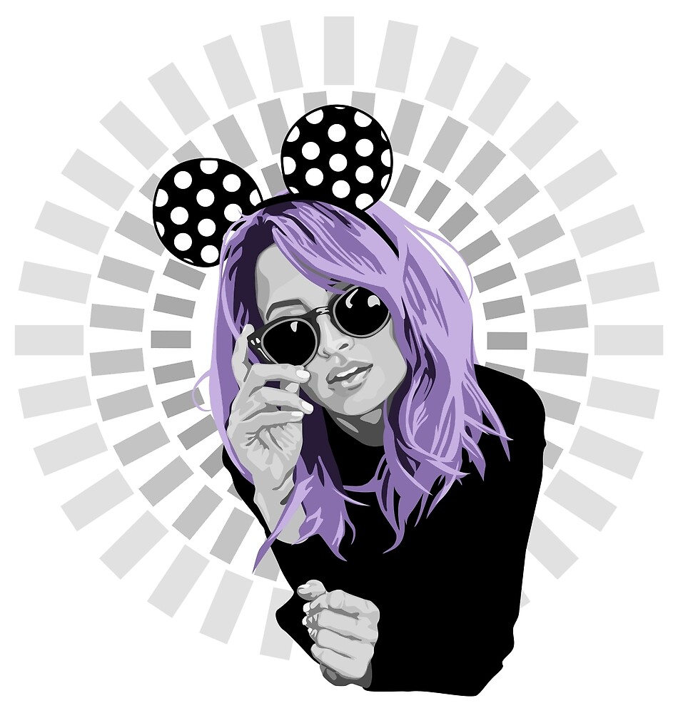 nicole richie in minnie mouse ears illustration by hellomalcolm