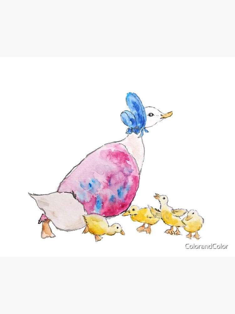 Jemima Puddle Duck and small yellow ducklings Beatrix Potter by ColorandColor