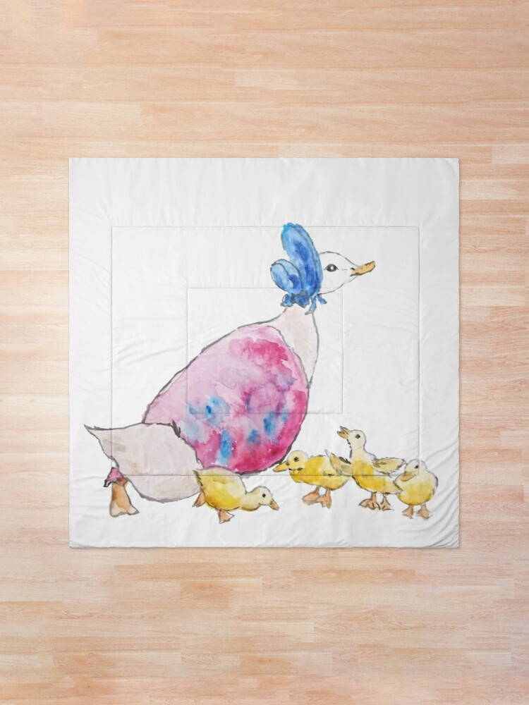 Alternate view of Jemima Puddle Duck and small yellow ducklings Beatrix Potter Comforter