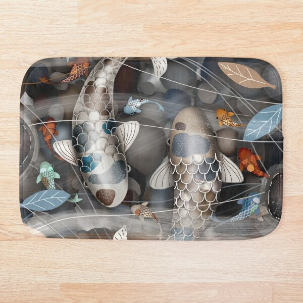 Koi Fish Pond Bath Mat