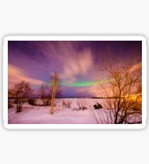 Aurora or northern lights moving across night sky in Lapland Sticker