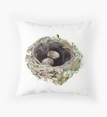 Pink robin's nest Throw Pillow