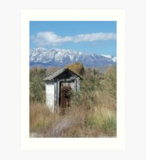 Outhouse with mountain background Art Print