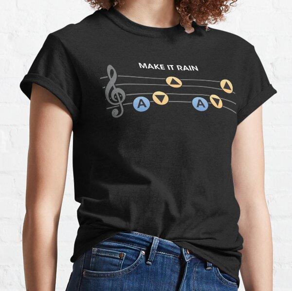 Arte inspirado en Zelda, diseño de Link Ocarina of time Song of Storms Make it Rain Camiseta clásica