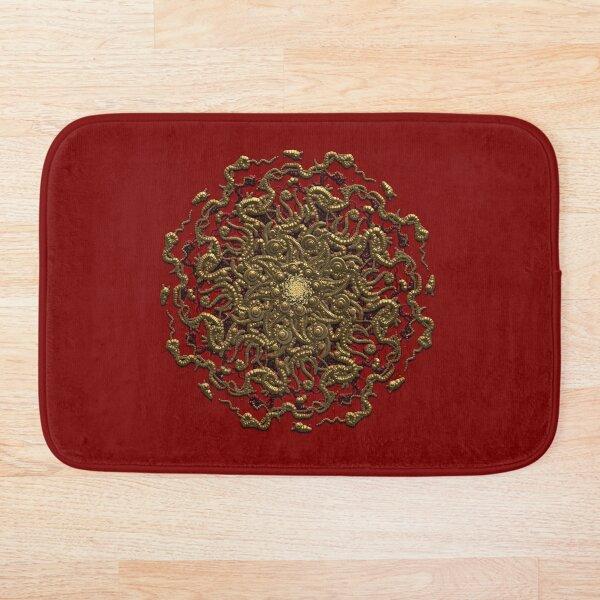 3D Occult Mandala Gold Sculpted Virus Bath Mat