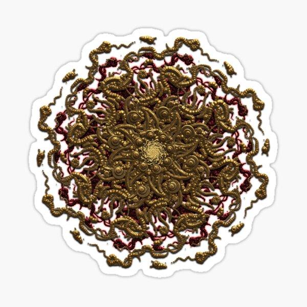 3D Occult Mandala Gold Sculpted Virus Sticker