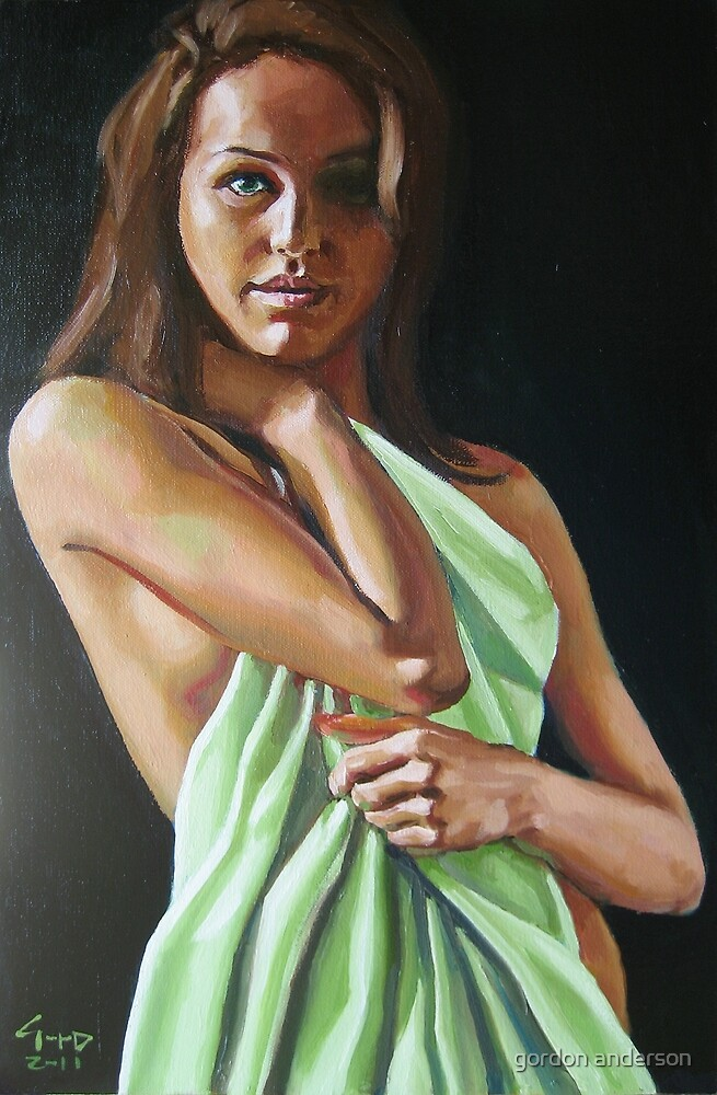 girl with green sheet by gordon anderson