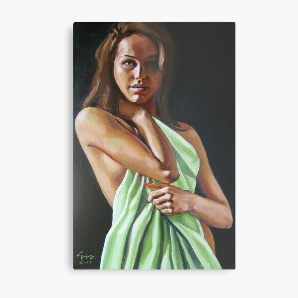 girl with green sheet Metal Print