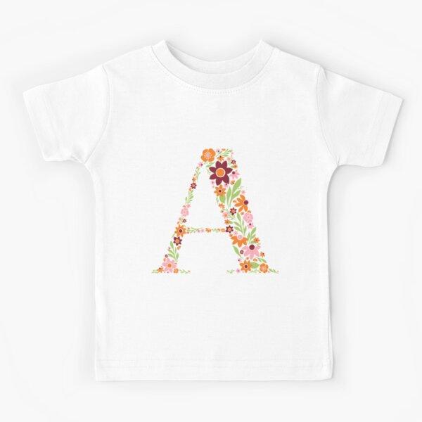 Retro Floral Letter A Kids T-Shirt