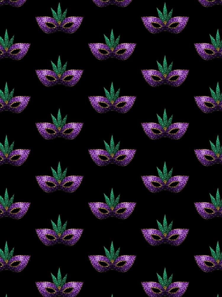 Mardi Gras Mask Purple Green Gold Sparkles by PLdesign