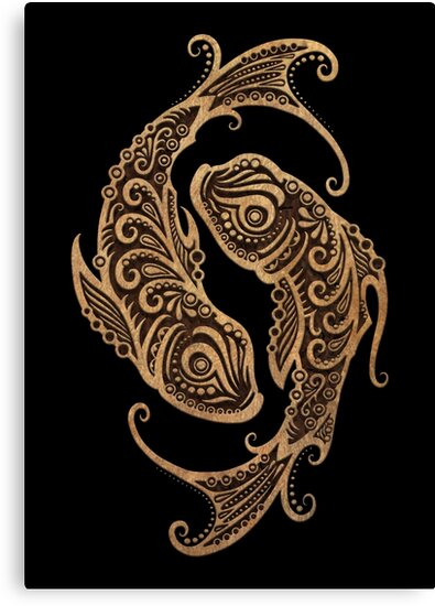 Rustic Pisces Zodiac Sign on Black by jeff bartels