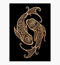 Rustic Pisces Zodiac Sign on Black Photographic Print