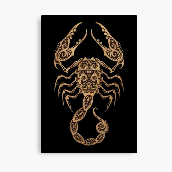 Rustic Scorpio Zodiac Sign on Black Canvas Print