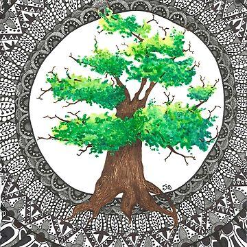 Watercolor and ink Mandala Tree by Ibubblesart