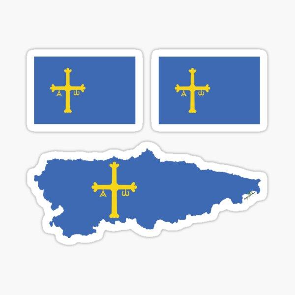 ASTURIAS Asturian Flag Spain Spanish mini flag and map outline Sticker