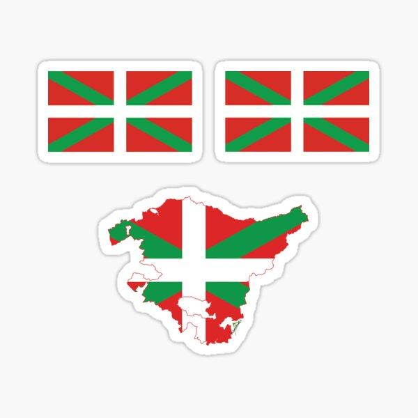 Bandera vasca Euskadi Pais Vasco España mini banderas y esquema del mapa Pegatina