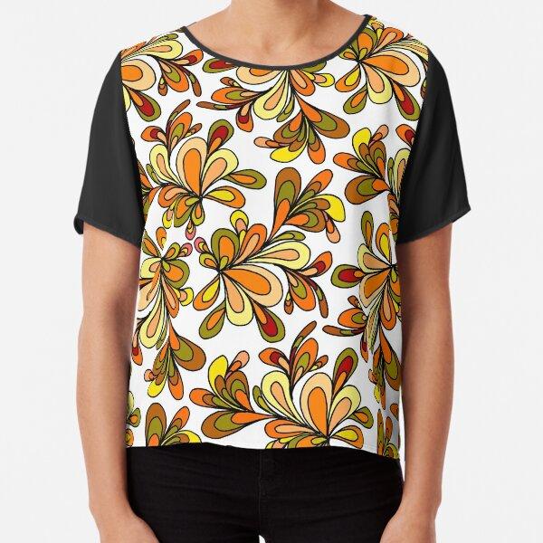 70s floral orange design Chiffon Top